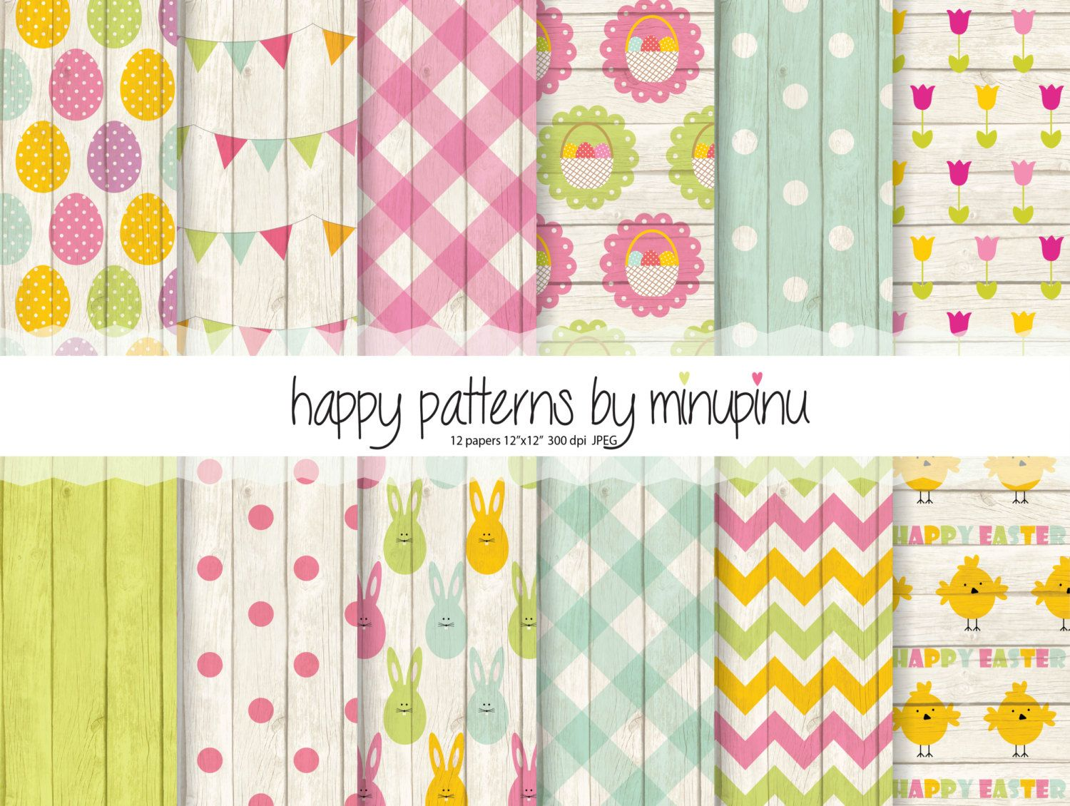easter digital paper happy easter patterns on wood background with
