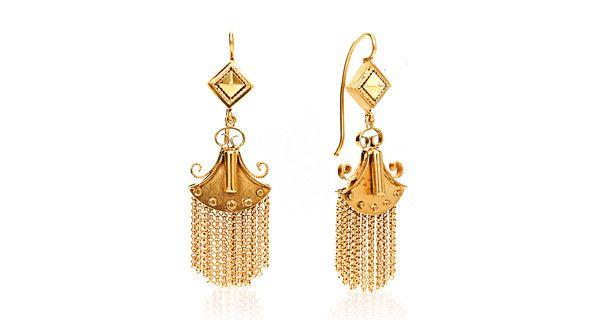 11 Pairs of Vintage Rare Ornate Dangling Tassel Post Back Earrings