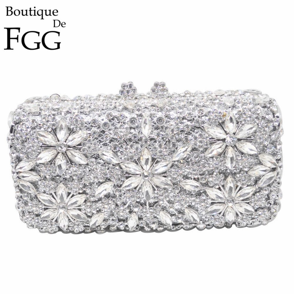 Socialite Metal Hard Case Ladies Clear Crystal Clutch Bags Evening Bags Women Hollow Out Wedding Party Silver Prom Handbag Purse
