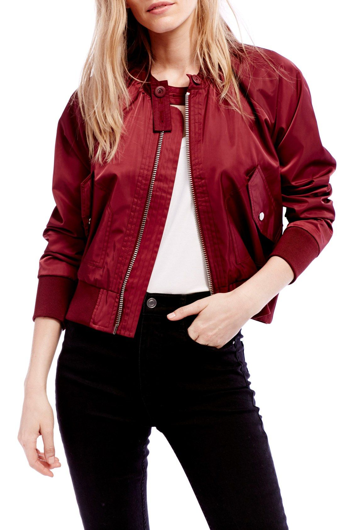 Leather jacket target - Midnight Red Bomber Jacket