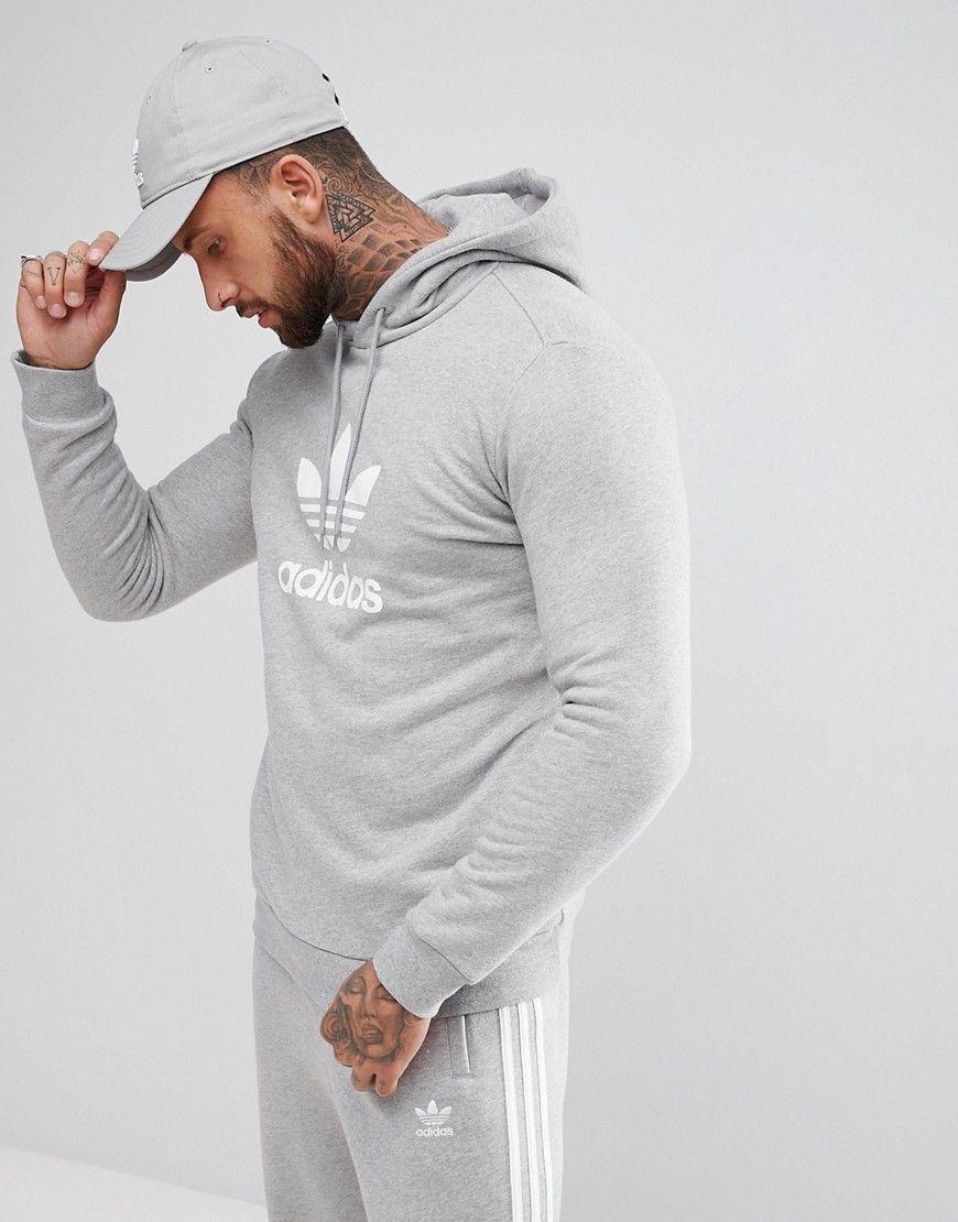 Adidas Originals Adicolor Hoodie With Trefoil Logo In Gray Cy4572 Blue Adidasoriginals Cloth Hoodies Bodybuilding Clothing Gym Wear Men [ 1110 x 870 Pixel ]