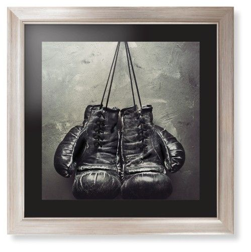 Boxing Gloves Framed Print, Metallic, Modern, Black, Black, Single piece, 16 x 16 inches, White