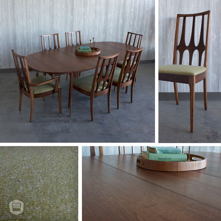 refinished  recovered mid-century modern broyhill brasilia table
