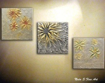 Original resumen flor met lica pintura esp tula tr ptico for Decoracion metalica pared