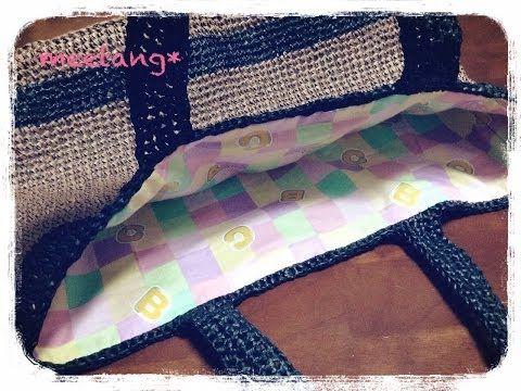 内布の付け方☆かぎ針で編んだバッグに内布をつけてみました! - YouTube