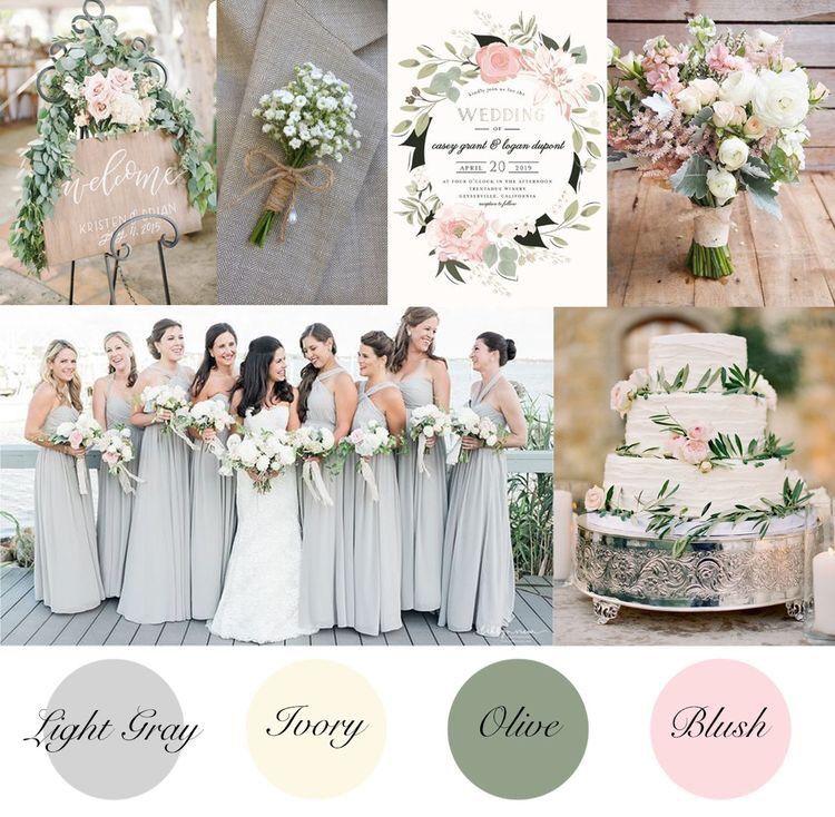 Lichtgrijze, ivoorkleurige, olijfkleurige en blozende zomerse bruiloftskleuren. Bruiloft inspiratie s …
