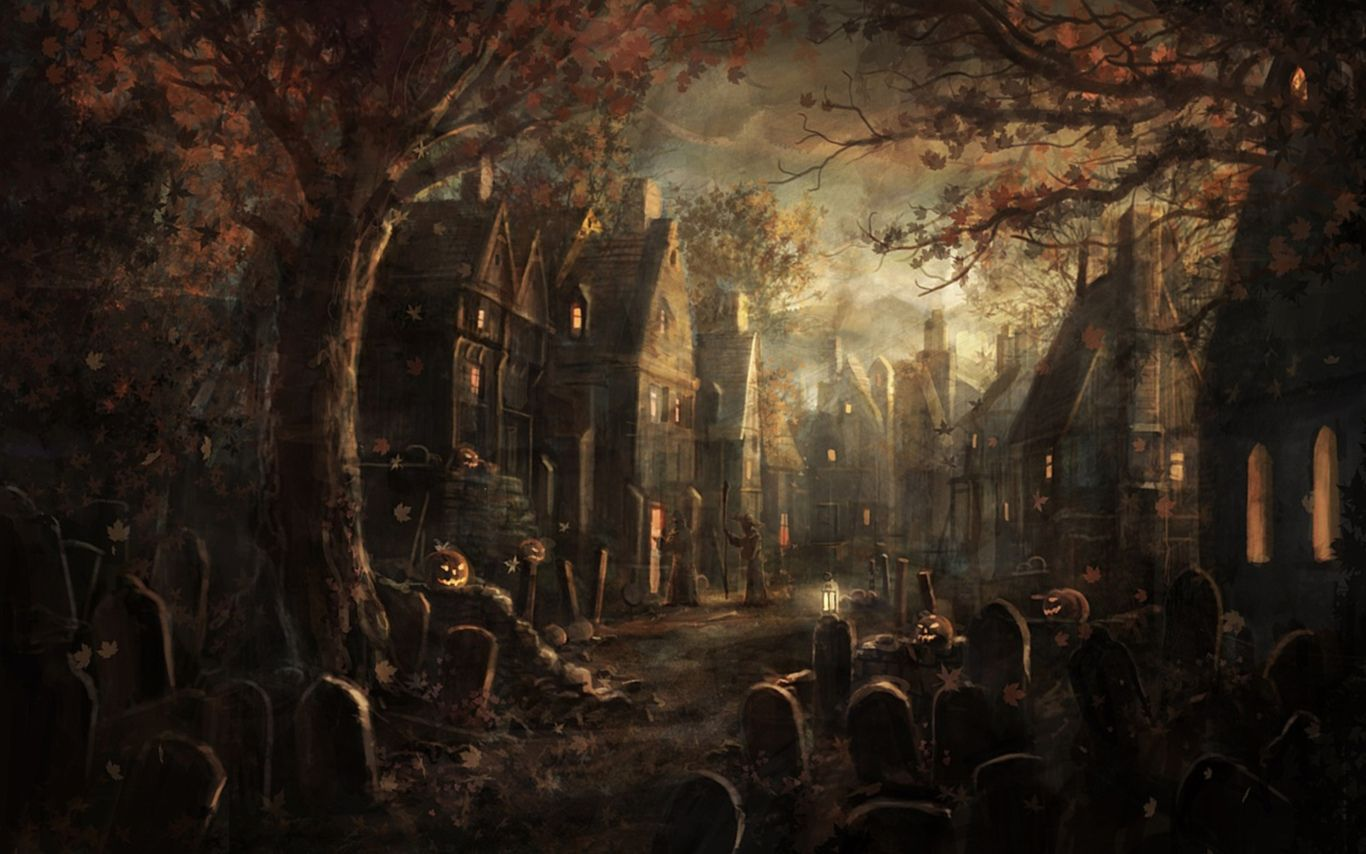 Creepy-Town-of-Halloween-Wallpapers-Screensavers.jpeg 1,366×854 pixels. apparently this is the creepy town of Halloween. I would live there and so would many of my friends...