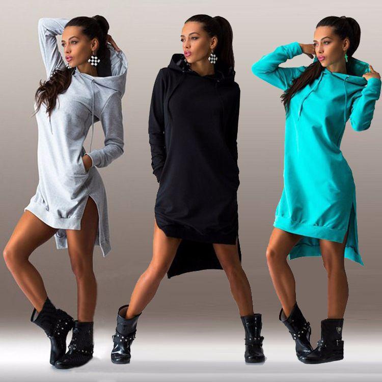 2016 새로운 도착 겨울 드레스 목 긴 소매 패션 캐주얼 스타일 불규칙한 고체 후드 여성의 드레스 무료 hipping