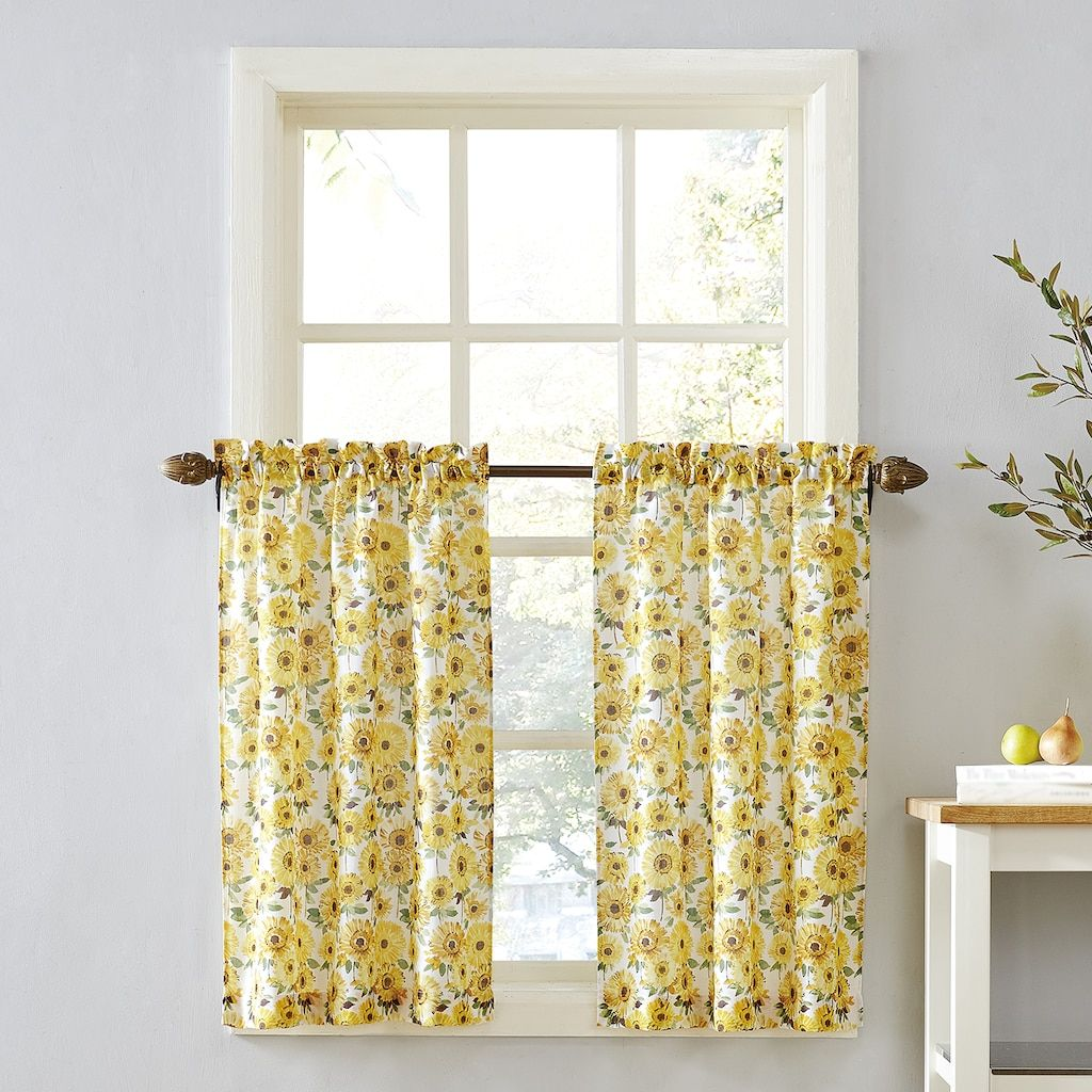 Top of the Window Sunflower Tier Kitchen Window Curtain Pair, Yellow