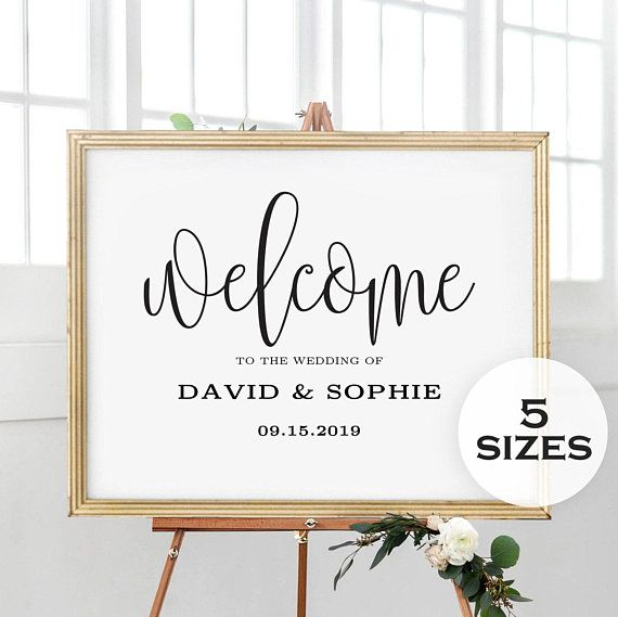 5 Sizes Editable Wedding Welcome Sign Template Welcome Sign