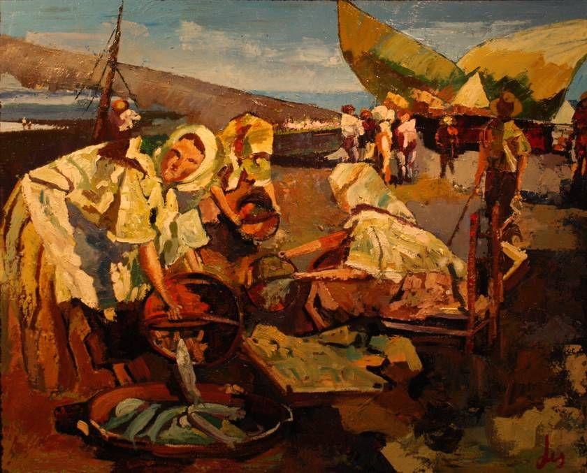 """Separando la pesca"", óleo sobre tela, 73 x 50 cm.Lis  (José Luis Pérez López, Ferrol, 1944)"