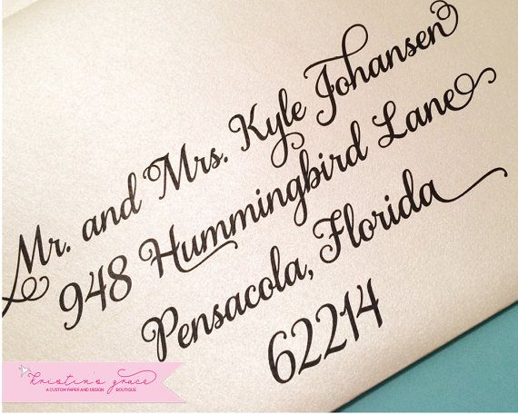 Envelope Addressing Sample Samantha Font Calligraphy Style