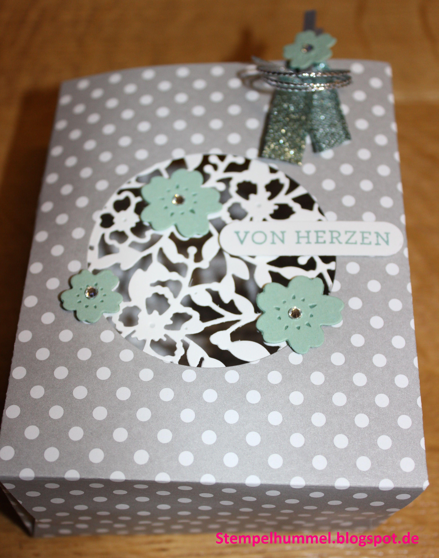 Stampin up, Geschenktüte mit Stanz- und Falzbrett für Geschenktüten, von Herzen, Wortfenster-Stanze, Minzmakrone