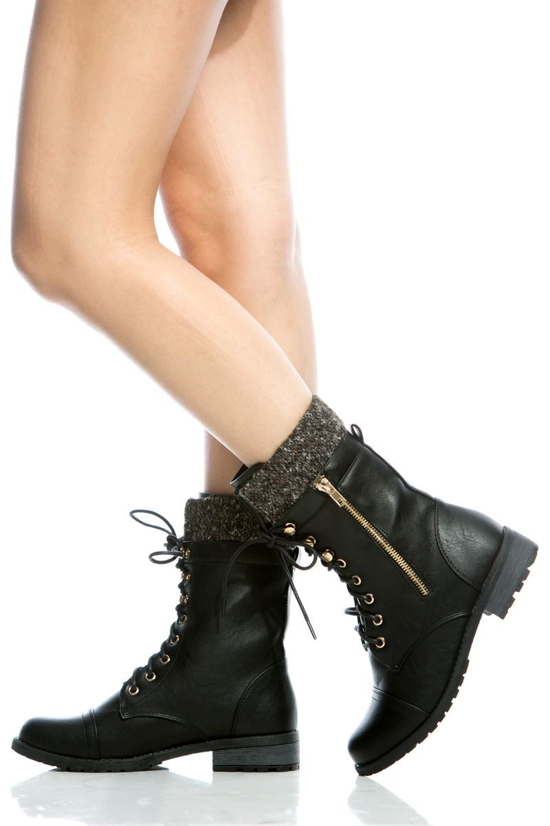e46e3ef1858 Black Faux Leather Lace Up Ankle Length Boots   Cicihot Boots  Catalog women s winter boots