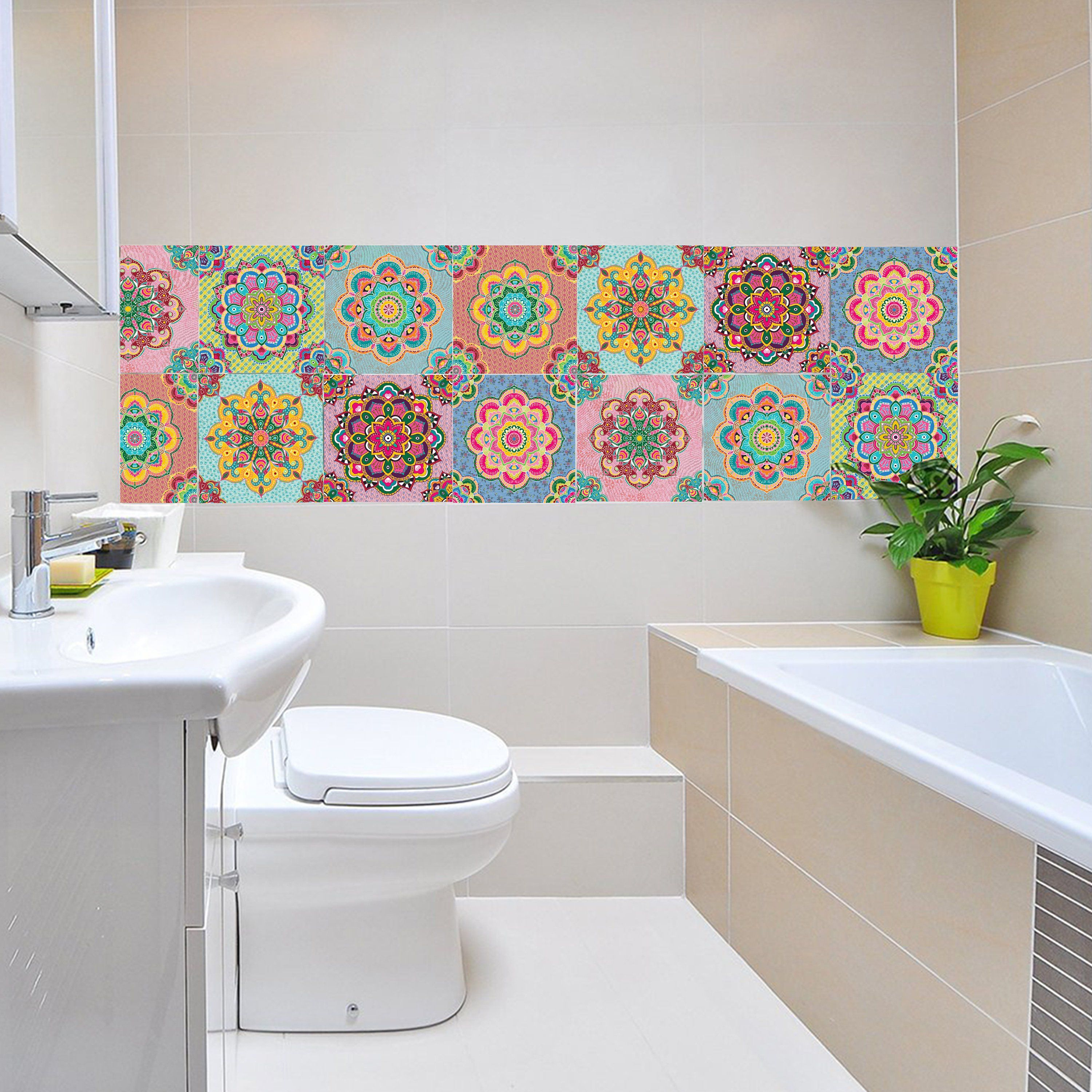 Set Of 14 Colorful Mandala Tiles Stickers Bathroom Tile Etsy Bathroom Tile Stickers Tile Bathroom Kitchen Wall Decals