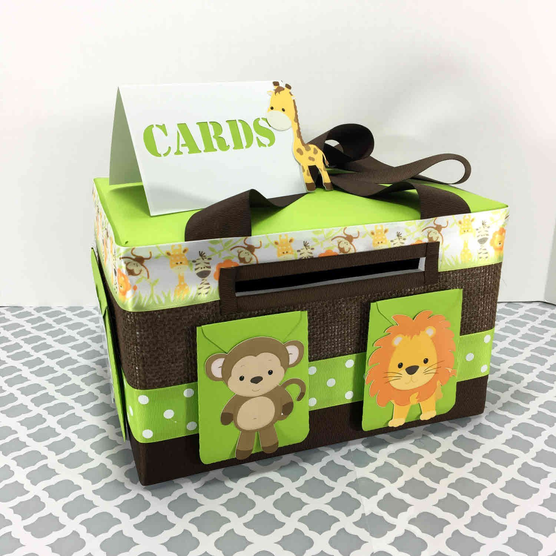 Green And Brown Safari Baby Shower Gift Card Box Safari Baby Shower Card Baby Shower Card Box Safari Baby Shower Boy