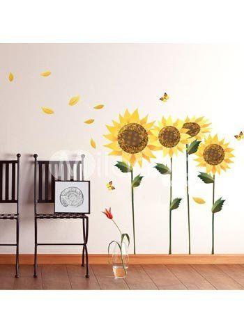 Sunflower Wall Decal Decoracion De Pared Casa Girasol Girasoles