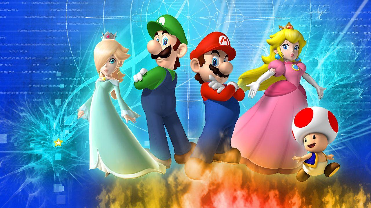 Mario Luigi Rosalina Peach And Toad Kids Wallpapers Jpg Super Mario Galaxy Mario And Luigi Mario