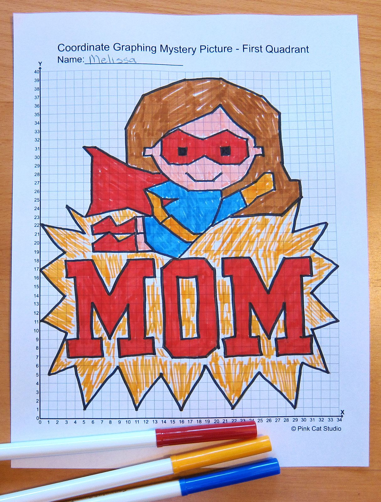 Mother's Day Math Coordinate Graphing Pictures Ordered