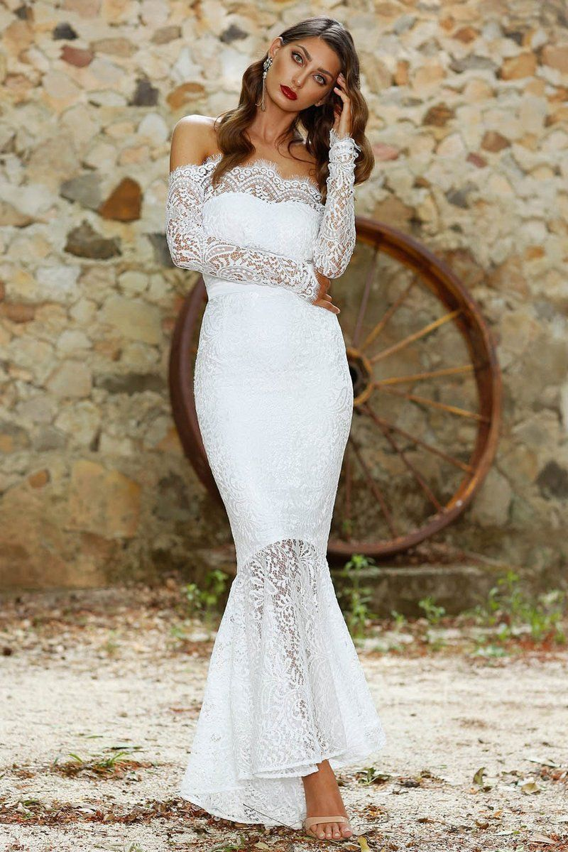 Lace offtheshoulder long sleeves evening dresses in angrila