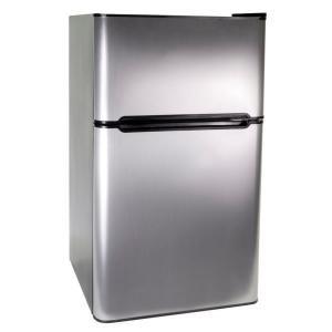 Compact 2 Door Refrigerator Freezer Is Designed With Double Door Shelves.  It Includes Two Full Width Glass Shelves And One Full Width Freezer Door  Shelf.