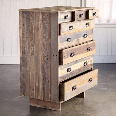 Tioga Pass Dresser Wood Boards Salvaged From Rugged Shipping Pallets Are Repurposed By Sleek Des Iron Hardware Wood Pallet Furniture Painted Jewelry Armoire