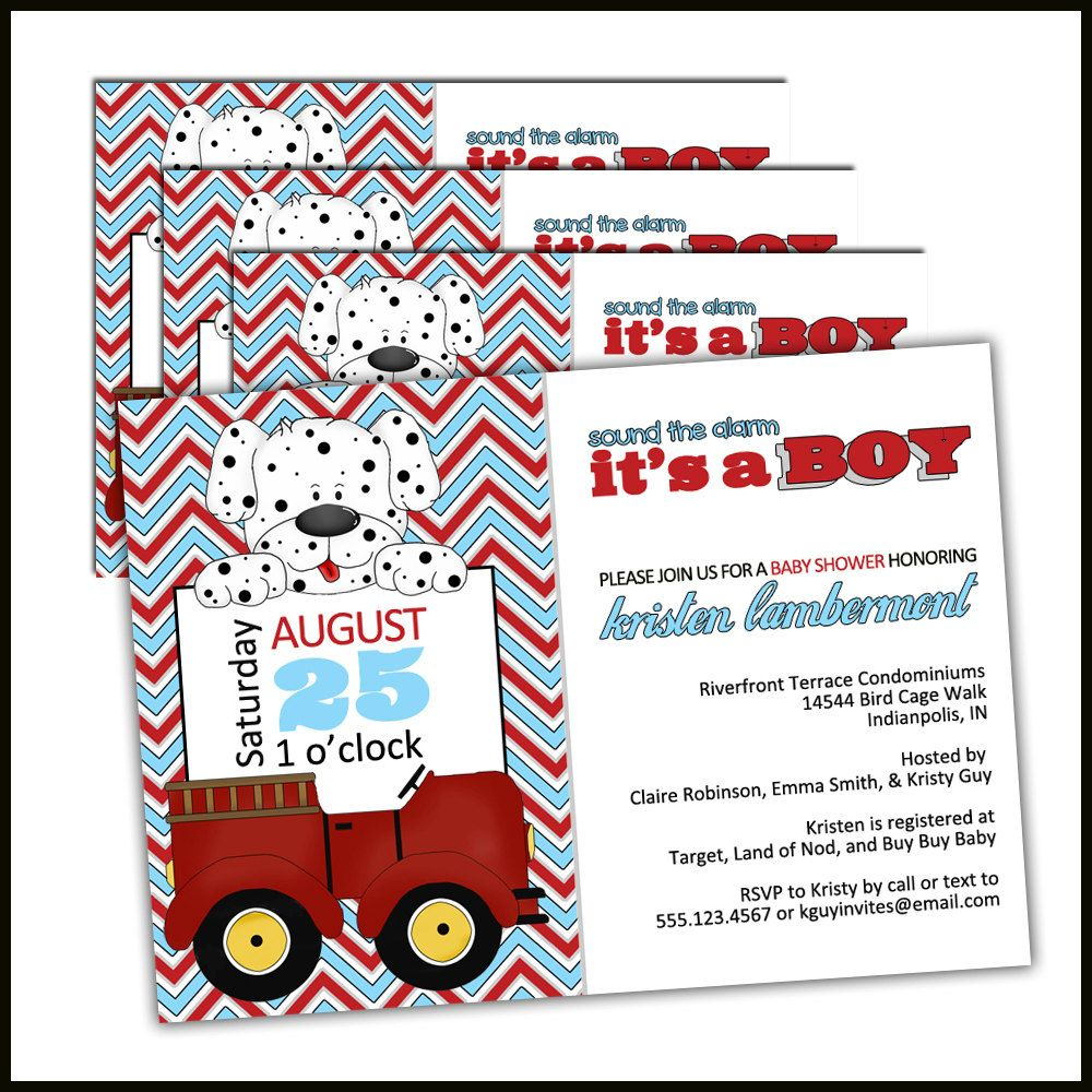 Fire Truck Baby Shower Invitations for Fireman Baby Shower theme ...