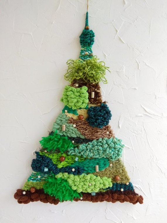 Christmas tree wall , hand weaving, Christmas, Decor wall of the