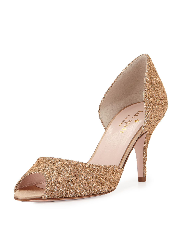 sage glittered peep-toe pump, natural/silver, Women's, Size: 37 EU (7B US), Natural\Silver - kate spade new york