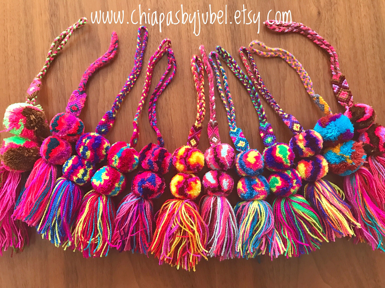 Multicolored pom pom tassel SMALL charms -set of 6 pcs / bohemian ...