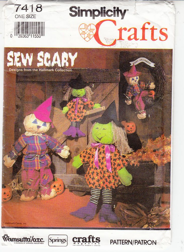 Halloween Sew Scary Decor Scarecrow Witch Simplicity Sewing Pattern ...
