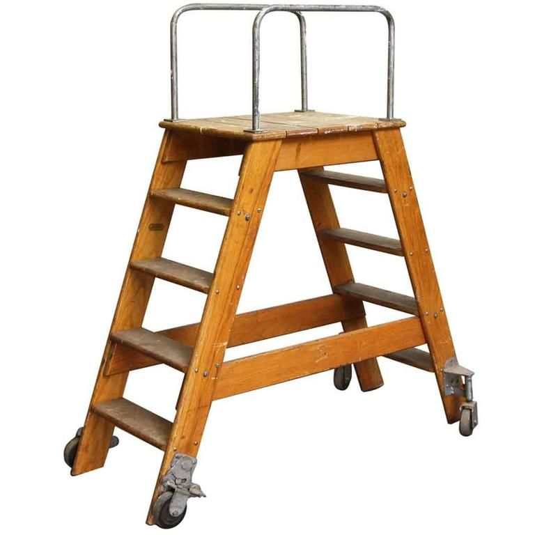 1950s Putnam Rolling Ladder With Two Sided Steps And Wheels Rolling Ladder Ladder Stair Ladder