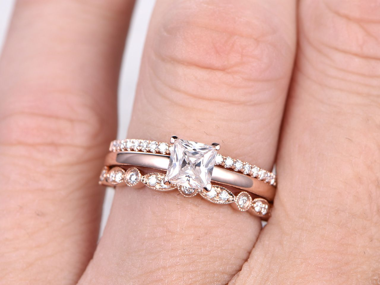 5mm Princess Cut Moissanite Engagement Ring Set Diamond Wedding ...