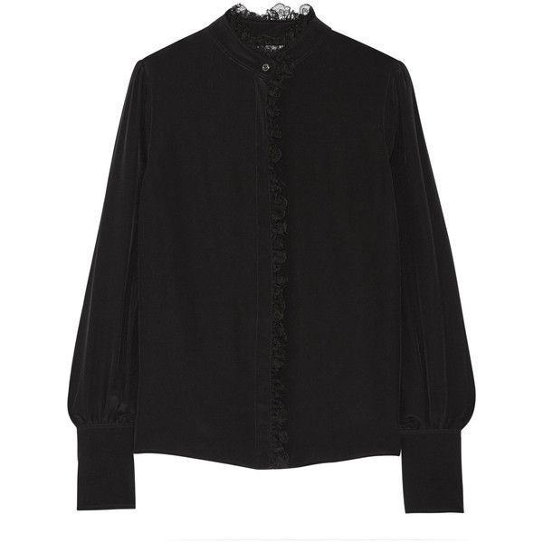 Altuzarra Knox lace-trimmed silk crepe de chine shirt (19 855 UAH) via Polyvore featuring tops, black и altuzarra