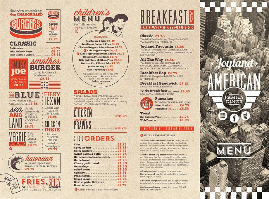 American Diner Joyland Diner Menu Restaurant Menu Design Menu Design Inspiration