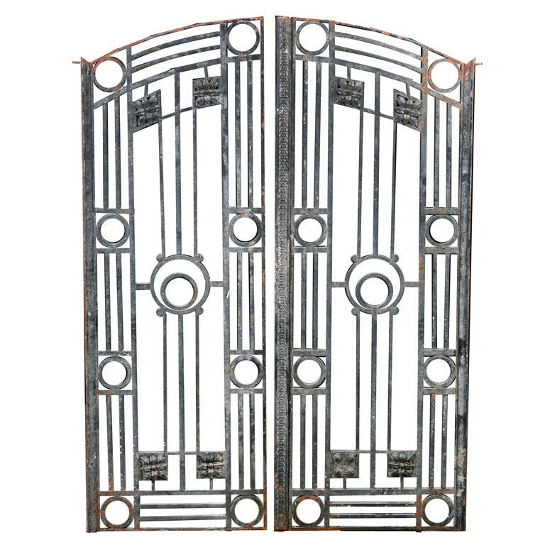 Art Deco Ornamental Ironwork: Pair Of French Antique Art Deco Style Iron Gates And