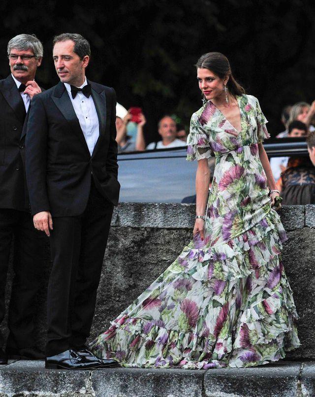 Charlotte Casiraghi et Gad Elmaleh au mariage de Pierre Casiraghi et  Beatrice Borromeo, le 1er août 2015 sur le lac Majeur.