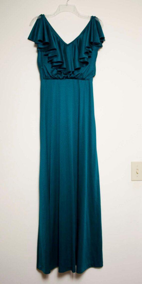 Vintage Teal Maxi Dress - no tags - good condition  Approximate Measurements: Bust - 36.5 inches Waist (at smallest) - 29 inches