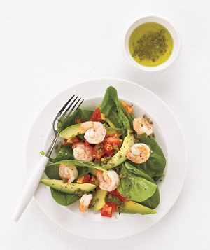 Spinach, shrimp, and avocado salad.