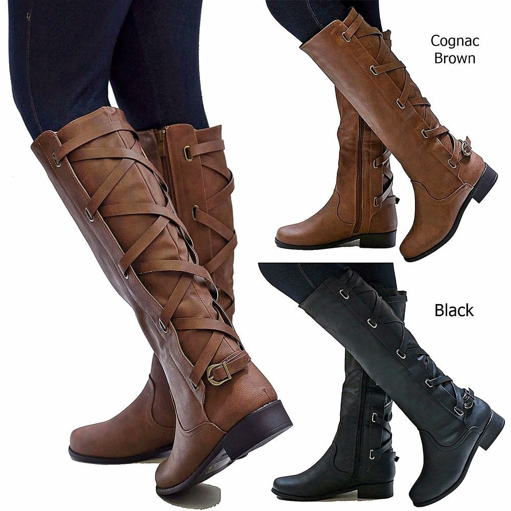 014822e1803 Details about New Women Ecd Brown Black Buckle Riding Knee High ...