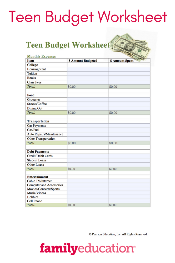 Teen Budget Worksheet Printable  Free Teen Worksheets And Budgeting