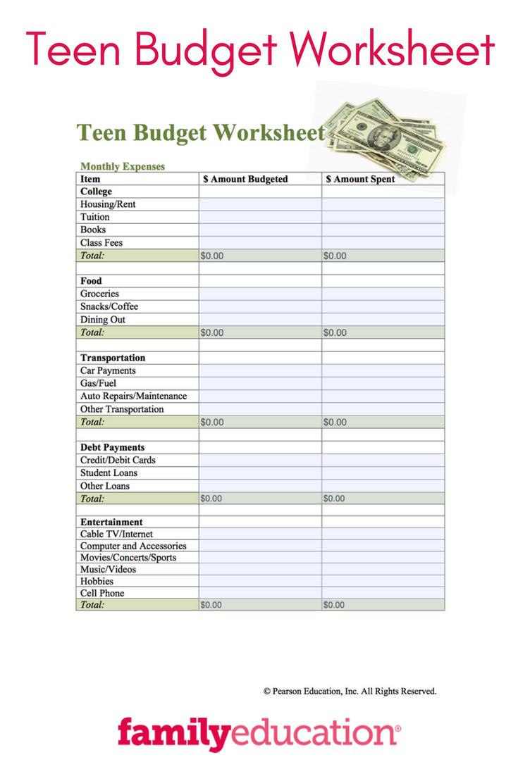 teenage budgeting worksheets