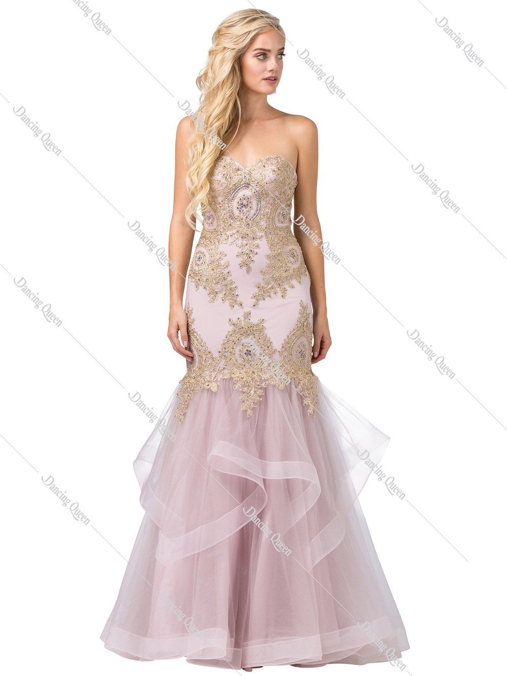 fd878f1b6f DQ 2449 - Strapless Gold Sequin Embellished Fit   Flare with Corset ...