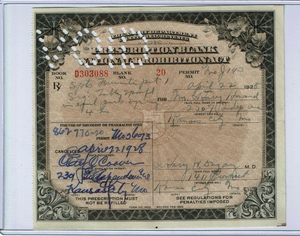 1928 prohibition prescription for medicinal liquor