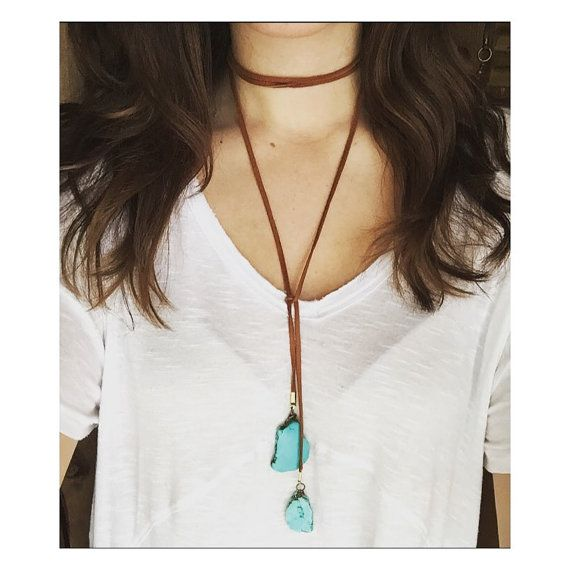 Hwl Platte boho leather lariat turquoise necklace available in genuine
