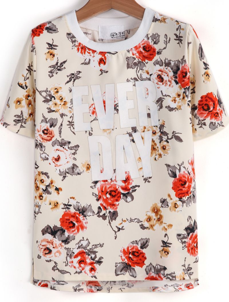 Apricot Short Sleeve Floral EVER DAY Print T-Shirt - Sheinside.com