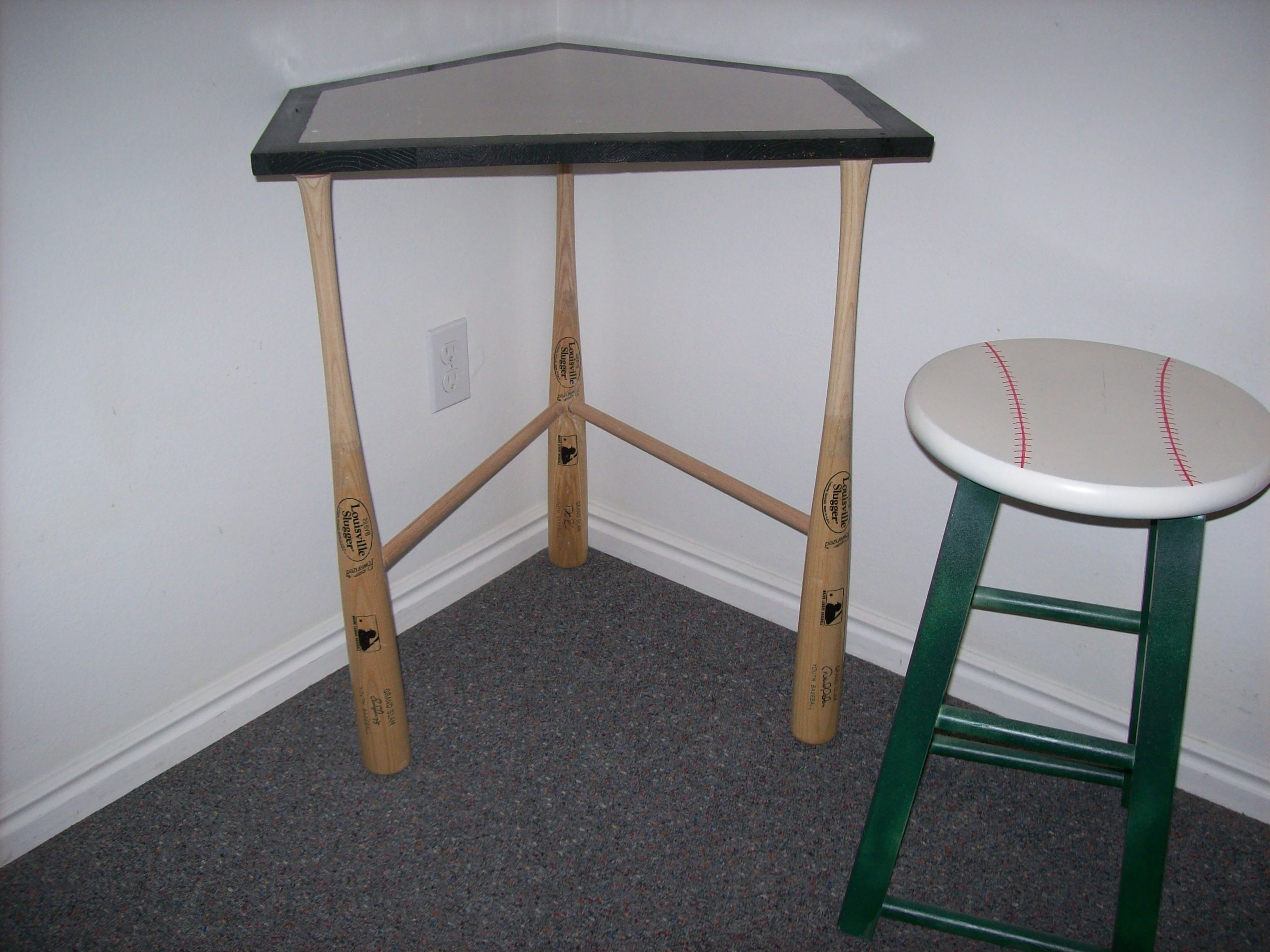 Homeplate Desk With Baseball Bats For Legs And A Stool Seat Painted As