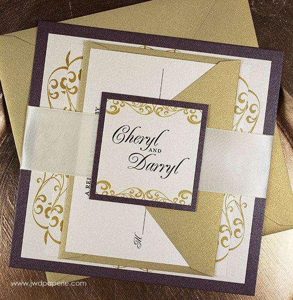 Purple and gold wedding invitations invitations pinterest items similar to wedding invitation gold purple wedding invitation wellington wedding invitation suite ribbon belly band sample kit on etsy stopboris Choice Image