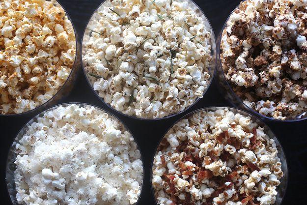 1 - Sriracha, Lime, and Sesame Popcorn  2 - Rosemary, Brown Butter, and Lemon Popcorn  3 - S'mores Popcorn  4 - Maple-Bacon Popcorn  5 - Parmesan-Garlic Popcorn