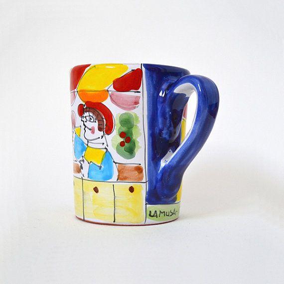 La Musa Italian Pottery Mug In The Style Of Desimone
